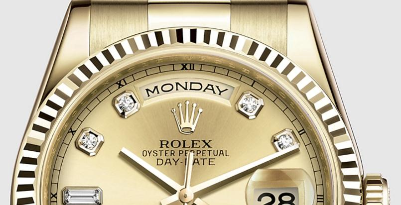 The luxury fake Rolex Day-Date 36 118238 watches are made from yellow gold.