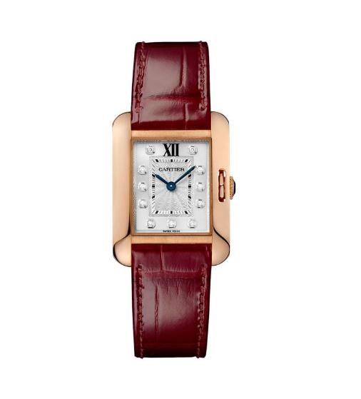 The luxury fake Cartier Tank Anglaise WJTA0007 watches are made from 18k rose gold.