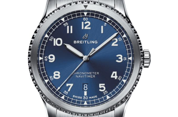 The 41 mm copy Breitling Navitimer A17314101C1A1 watches have blue dials.