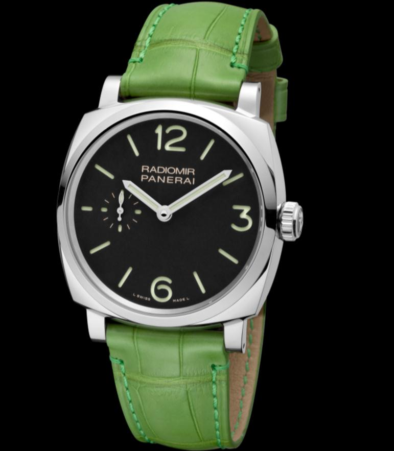 The special fake Panerai Radiomir 1940 PAM00574 watches have green leather straps.