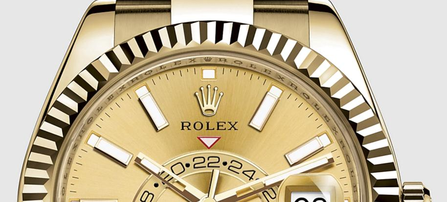 The luxury fake Rolex Sky-Dweller 326938 watches are made from yellow gold.