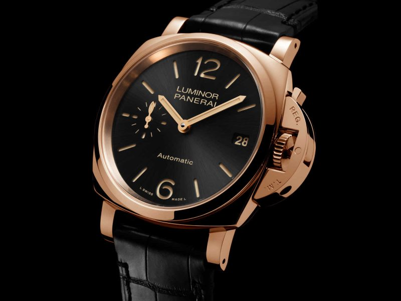 The 38 mm copy Panerai Luminor Due PAM00908 watches have black dials.