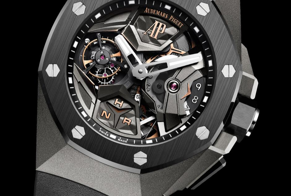 The 44 mm replica Audemars Piguet Royal Oak Concept Flying Tourbillon GMT 26589IO.OO.D002CA.01 watches have skeleton dials.