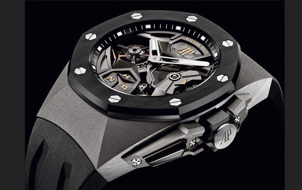 The durable copy Audemars Piguet Royal Oak Concept Flying Tourbillon GMT 26589IO.OO.D002CA.01 watches are made from titanium.