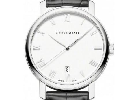 The 40 mm replica Chopard Classic 161278-1001 watches have white dials.