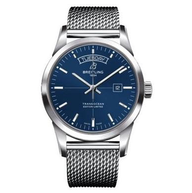 The 43 mm fake Breitling Transocean A453109T watches have blue dials.