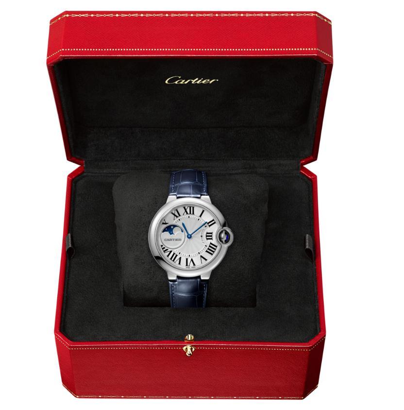 The 37 mm copy Ballon Bleu De CartierWSBB0020 watches have moon phases.