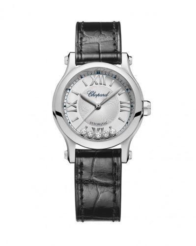 The 30 mm copy Chopard Happy Diamonds 278573-3001 watches have silvery dials.