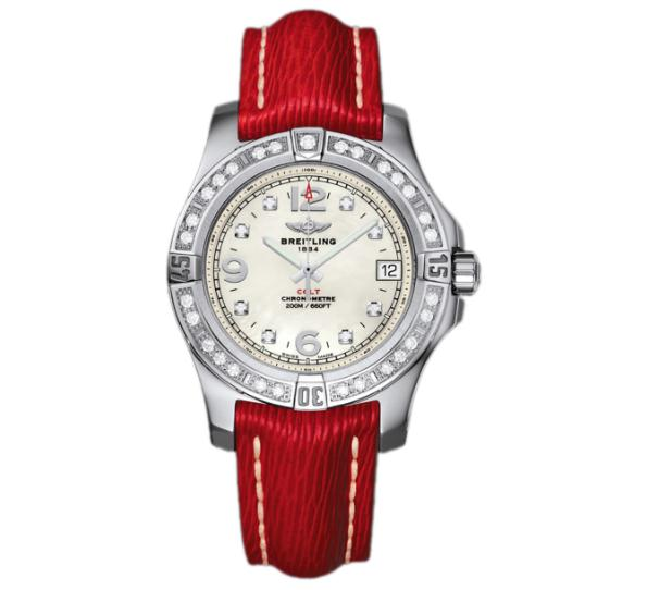 The red leather straps copy Breitling Colt A7438953 watches have white mother-of-pearl dials.