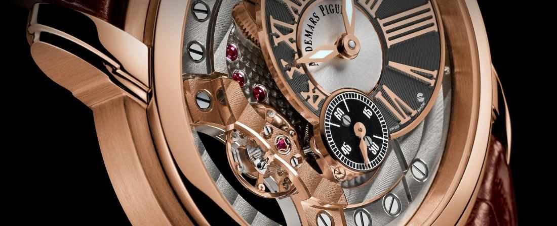 The 18k rose gold copy watches have off-centred dials.