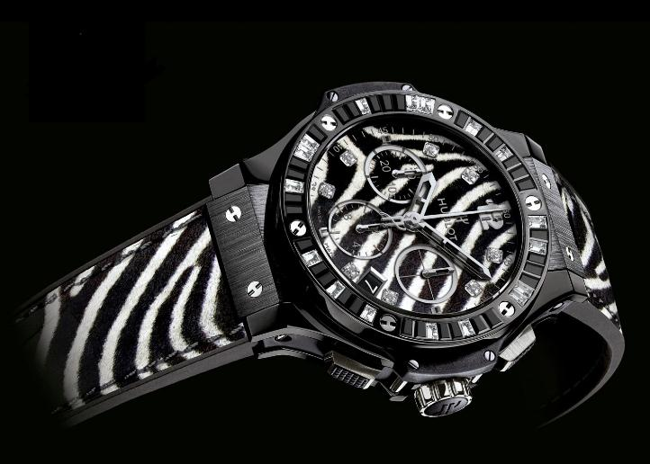 The 41 mm copy watches are made from black ceramic.