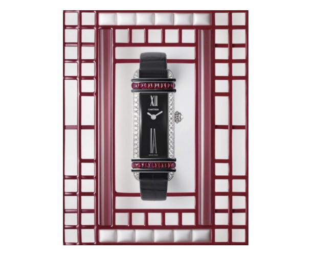 The black leather straps fake watches are decorated with rubies.