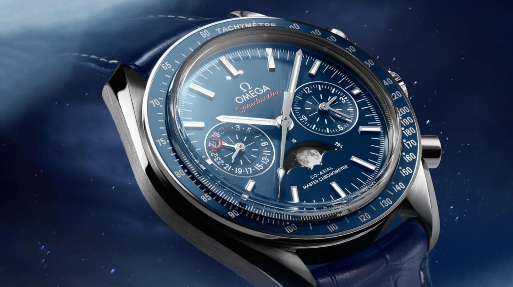 The blue dials copy watches have moon phases.