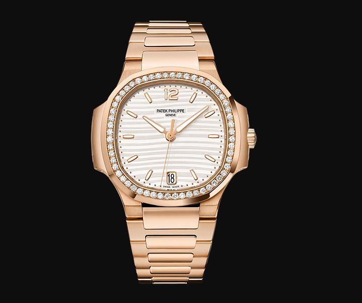 The female fake watch is made from 18k rose gold.